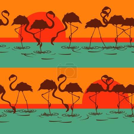 Seamless pattern of flamingos