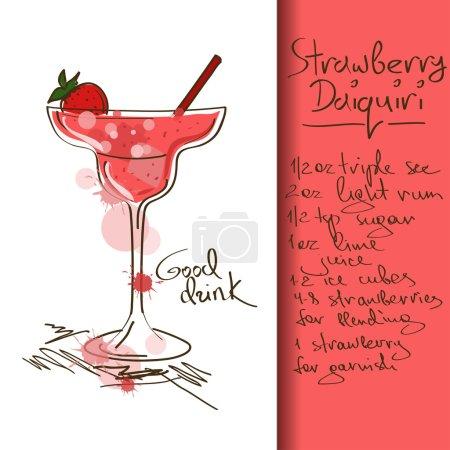 Illustration pour Illustration avec cocktail Daiquiri aux fraises dessiné à la main - image libre de droit