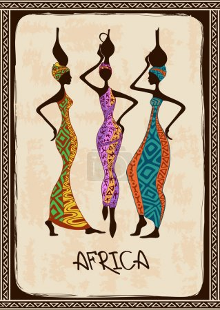 Illustration with three beautiful African women