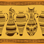 Ethnic seamless pattern with ornated cats and vases