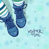 Winter illustration with girls feet in striped tights and boots on a snowflake patterned background