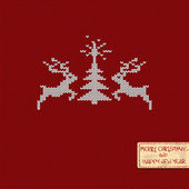 Christmas and New Year knitted pattern card with deers and tree