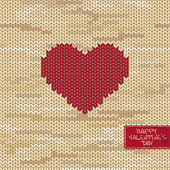 Valentine's knitted seamless pattern or card with heart on a melange background and greeting tag