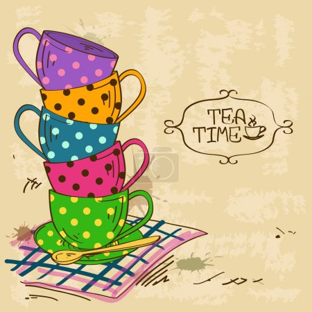 Illustration with stack of tea cups