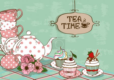 Illustration with still life of tea set and cupcakes