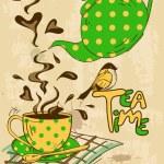 Vintage tea party invitation with teapot, teacup, ...