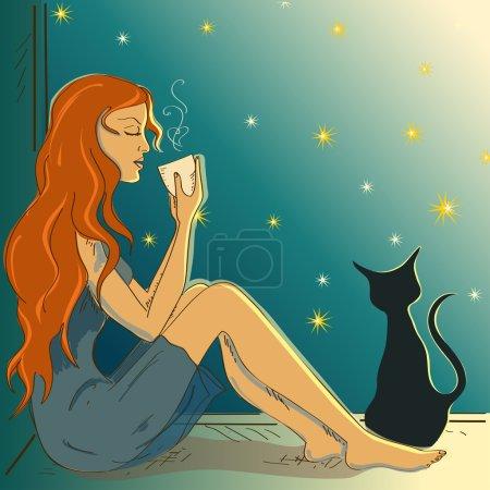 Illustration with beautiful girl sitting on a windowsill