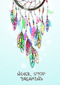 Colorful ethnic illustration with American Indians dreamcatcher