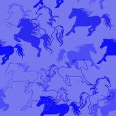 Seamless pattern of racing horses