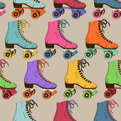 Seamless pattern with colorful retro roller skates
