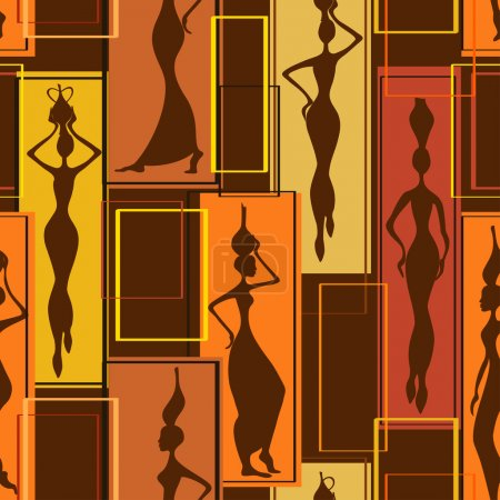 Illustration for Colorful abstract geometric seamless pattern of beautiful African women with vases - Royalty Free Image