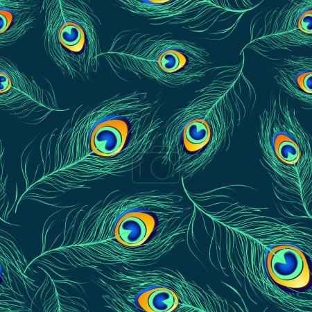 Illustration for Seamless pattern of blue green peacock feathers - Royalty Free Image