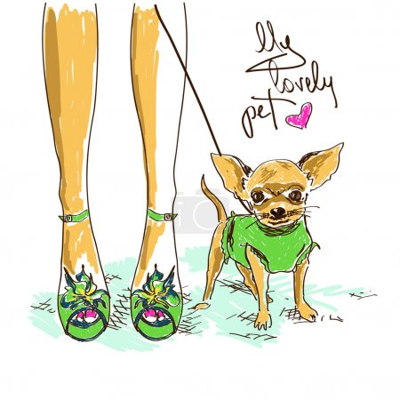 Legs of fashion girl and little chihuahua