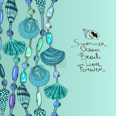 Illustration with jewelry of seashell and beads