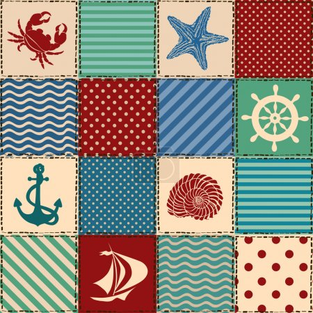 Illustration pour Modèle sans couture patchwork nautique avec coquillage, étoile de mer, Ancre, roue, voilier et crabe - image libre de droit