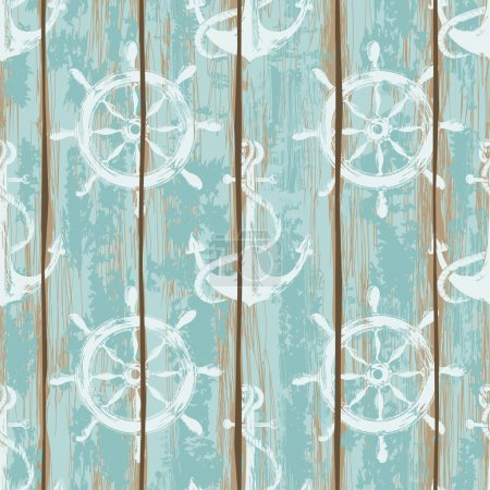 Illustration for Old boards of ship deck seamless pattern painted by anchors and wheels print - Royalty Free Image