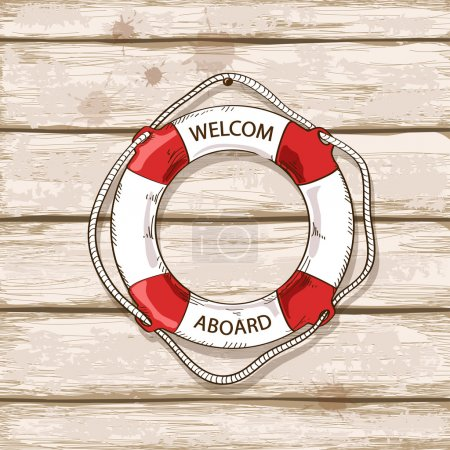 Lifebuoy on boards of ship deck background