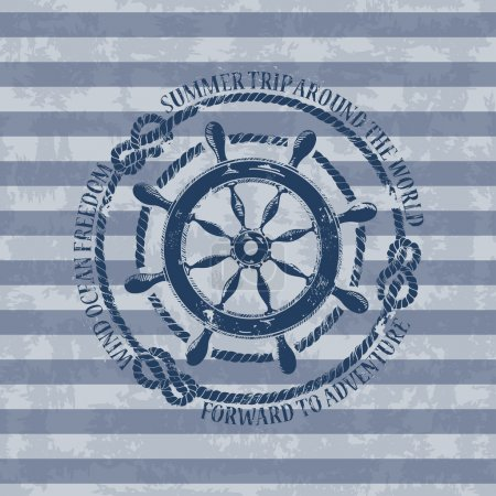 Illustration for Vintage nautical emblem with sea wheel on a striped background - Royalty Free Image