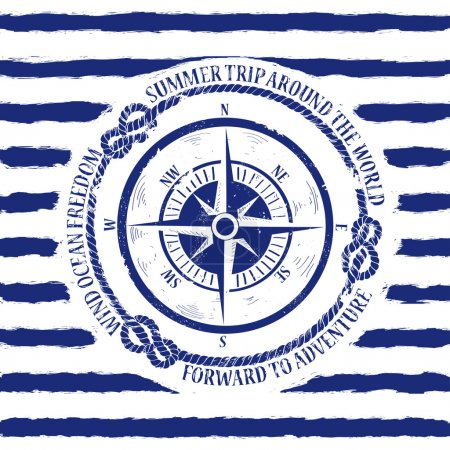 Illustration for Blue white nautical emblem with compass on a striped background - Royalty Free Image