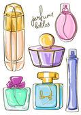 Set of isolated perfume bottles icons