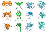 Set of isolated zodiac signs