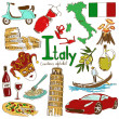 Fun colorful sketch collection of Italy icons, cou...