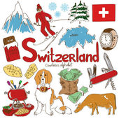 Fun colorful sketch collection of Switzerland icons countries alphabet