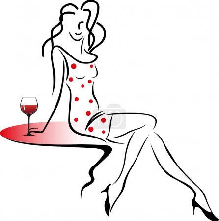 Illustration pour Fille assise sur une table avec un verre de vin . - image libre de droit