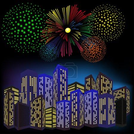 Ilustración de Coloridos fuegos artificiales sobre una ciudad de noche. - Imagen libre de derechos
