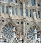 Přední část katedrále sagrada familia v Barceloně, Katalánsko