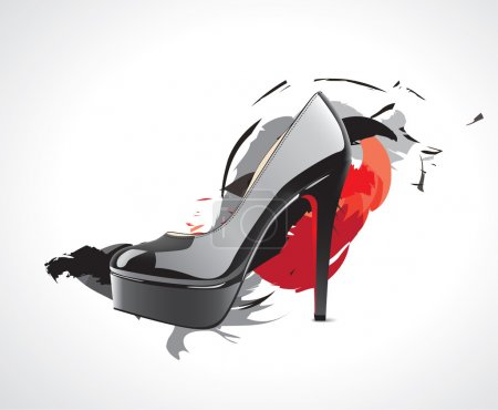 High-heeled fashion shoes in the color splash