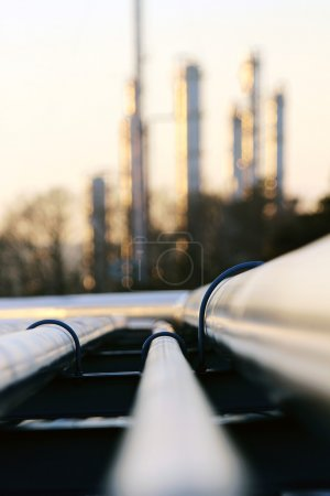 Photo for Pipe going to the refinery station - Royalty Free Image
