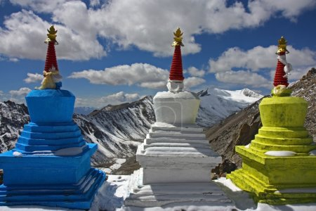three stupas high in Himalayas
