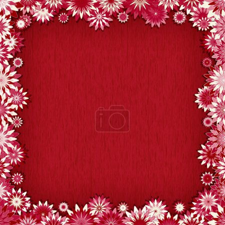 Red background with border of pink flowers - vector illustration