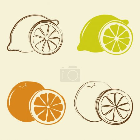 Illustration for Lemon and orange icons - vector illustration - Royalty Free Image