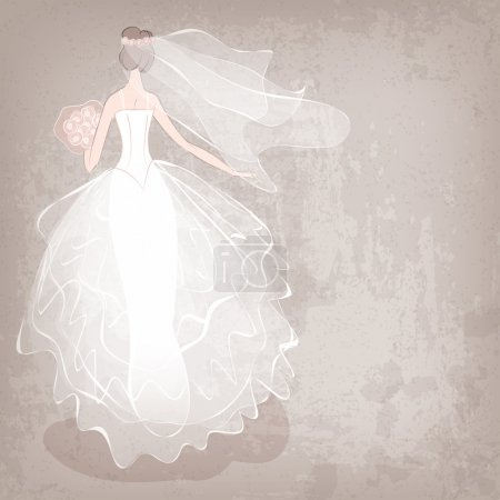 bride in wedding dress on grungy background - vector illustration