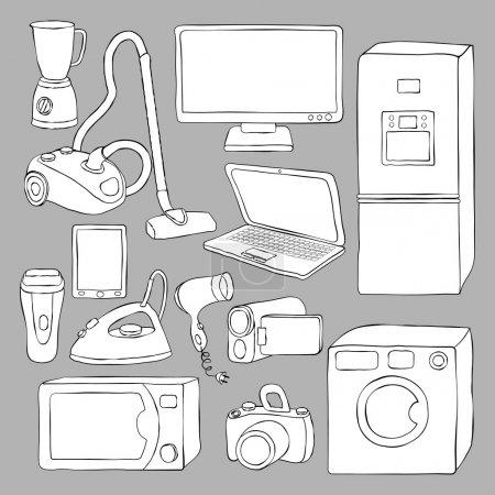 Photo pour Electroménagers et icônes électroniques - illustration vectorielle - image libre de droit