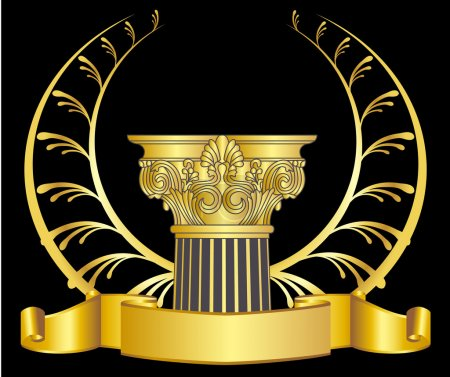 Illustration for Old-style greece column and gold laurel wreathgold laurel wreath. eps10 vector illustration - Royalty Free Image