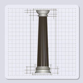 Technical engineering line scale paper grid background with abstract column in pillar form vector illustration