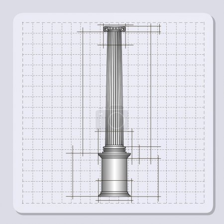 Technical engineering line scale paper grid background with abstract column in pillar form. vector illustration