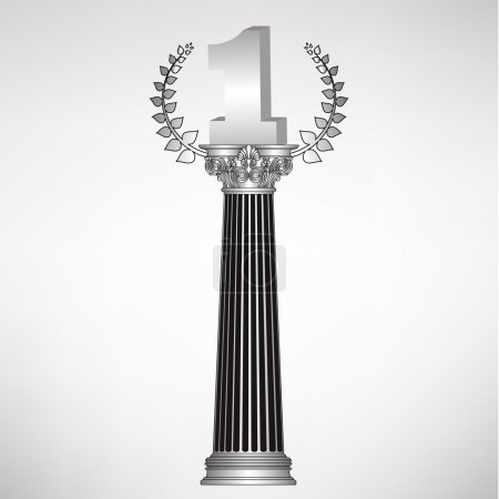 Greece column, laurel wreath and number one. eps10 vector illustration