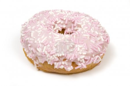 Photo for Pink Doughnut covered in sprinkles isolated against white background. - Royalty Free Image