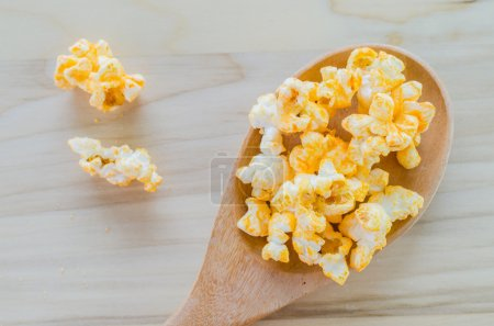Popcorn on the wood table