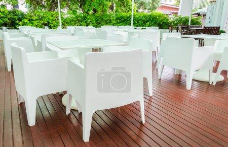 White table in the restuarant...