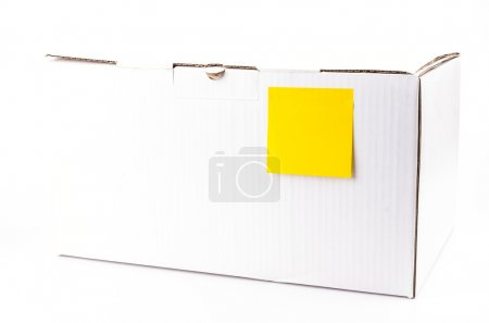 Yellow note on white box