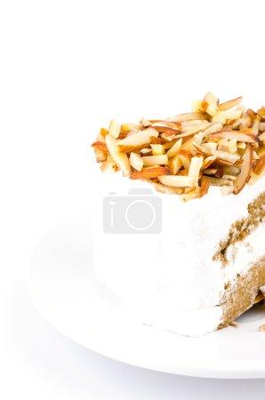 Photo pour Café gâteau aux amandes sur fond blanc - image libre de droit