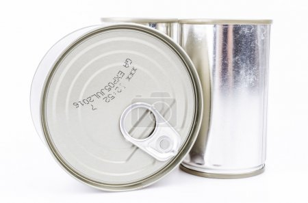 Cans on white