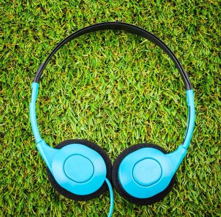 Headphone on grass