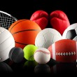 A set of different sport equipment and balls...
