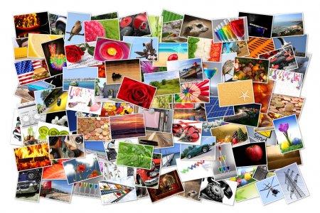 Photo pour Une pile d'images imprimées sur fond blanc - image libre de droit